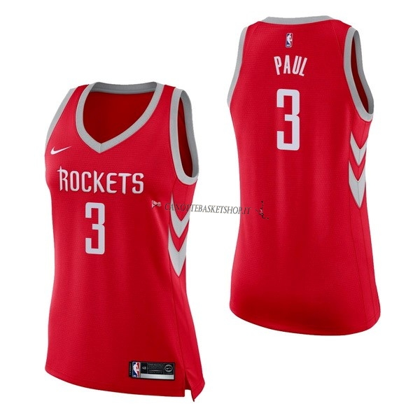 Comprare Maglia NBA Donna Houston Rockets NO.3 Chris Paul Rosso Icon