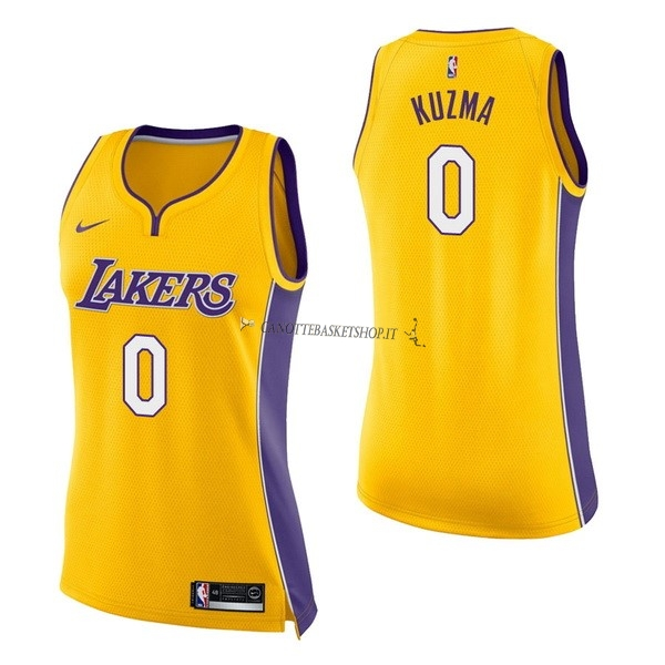 Comprare Maglia NBA Donna Los Angeles Lakers NO.0 Kyle Kuzma Giallo Icon