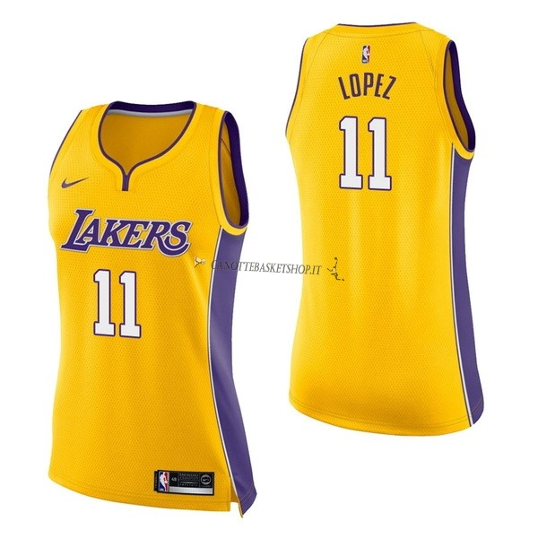 Comprare Maglia NBA Donna Los Angeles Lakers NO.11 Brook Lopez Giallo Icon