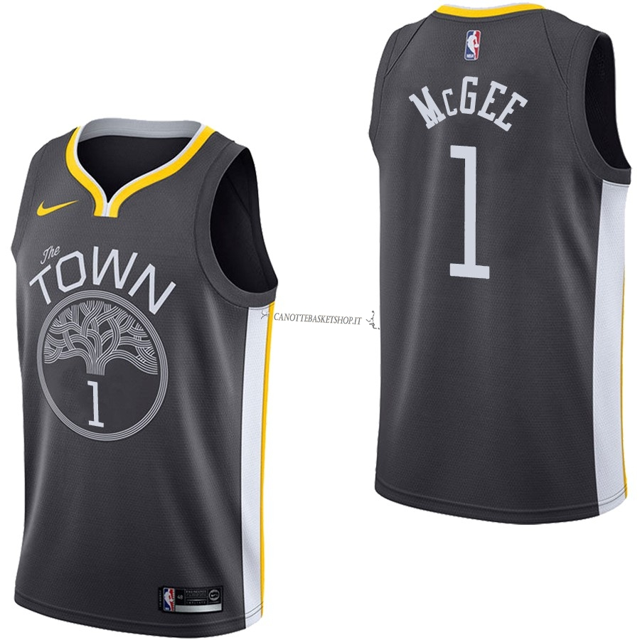 Comprare Maglia NBA Nike Golden State Warriors NO.1 JaVale McGee Nero Statement