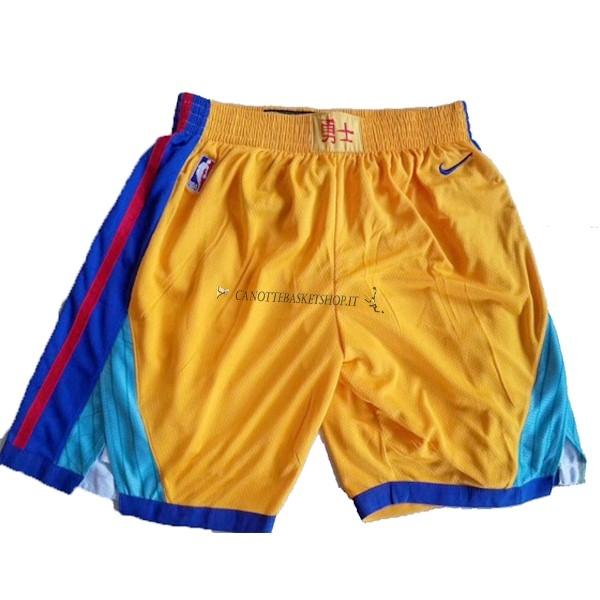 Comprare Pantaloni Basket Golden State Warriors Nike Giallo
