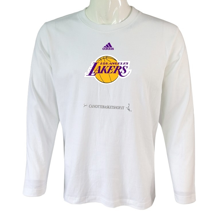 Comprare T-Shirt Los Angeles Lakers Maniche Lunghe Bianco 2018