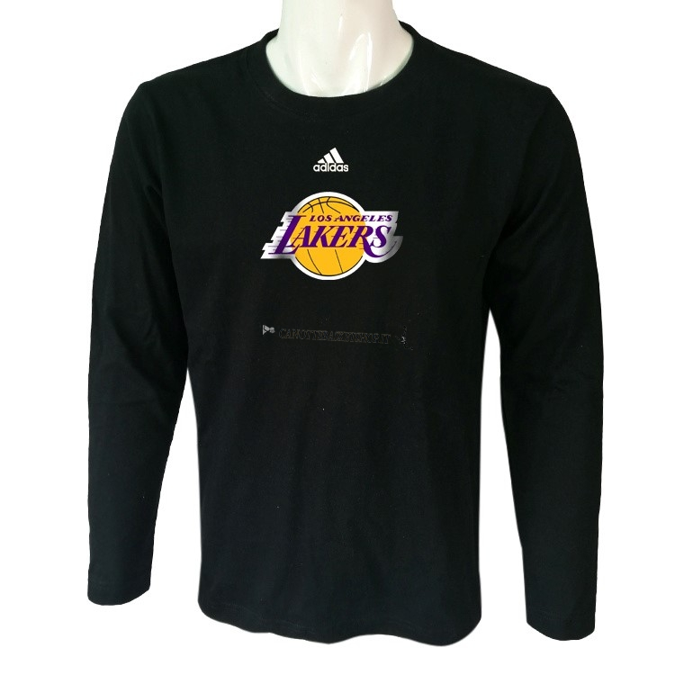 Comprare T-Shirt Los Angeles Lakers Maniche Lunghe Nero 2018