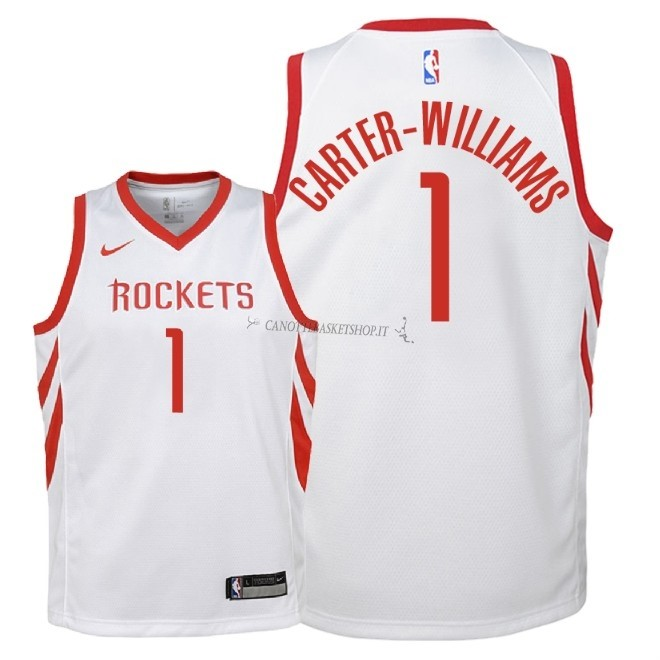 Comprare Maglia NBA Bambino Houston Rockets NO.1 Michael Carter Williams Bianco Association 2018