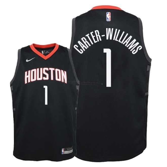 Comprare Maglia NBA Bambino Houston Rockets NO.1 Michael Carter Williams Nero Statement 2018