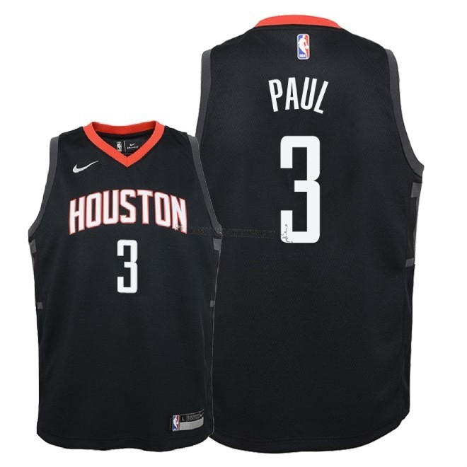 Comprare Maglia NBA Bambino Houston Rockets NO.3 Chris Paul Nero Statement 2018-19