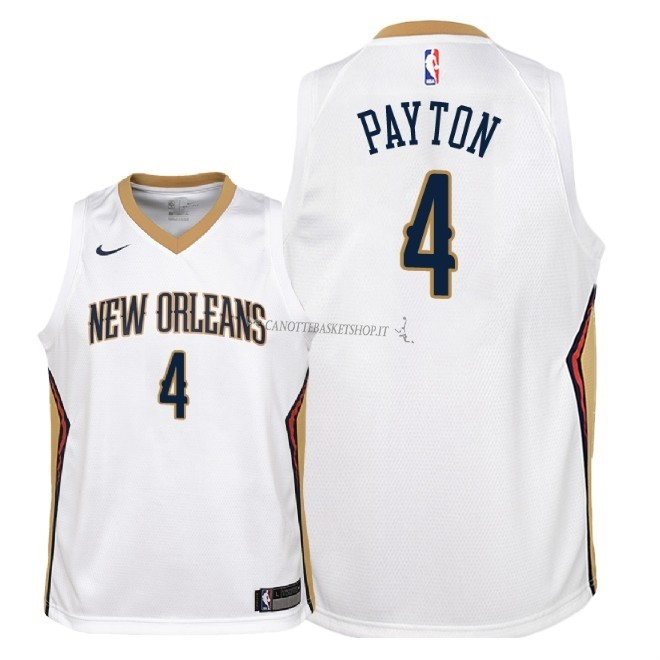 Comprare Maglia NBA Bambino New Orleans Pelicans NO.4 Elfrid Payton Bianco Association 2018