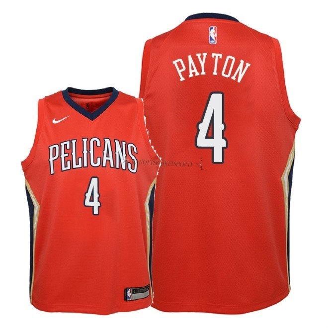 Comprare Maglia NBA Bambino New Orleans Pelicans NO.4 Elfrid Payton Rosso Statement 2018