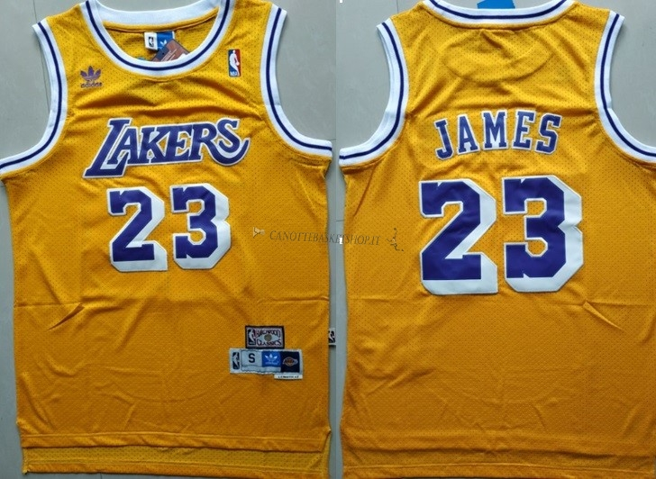 Comprare Maglia NBA Los Angeles Lakers NO.23 Lebron James Retro Giallo