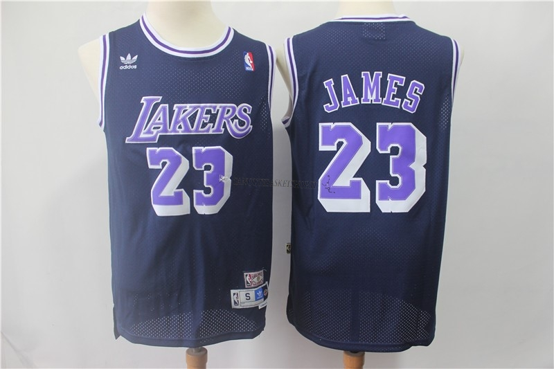 Comprare Maglia NBA Los Angeles Lakers NO.23 Lebron James Retro Nero Porpora