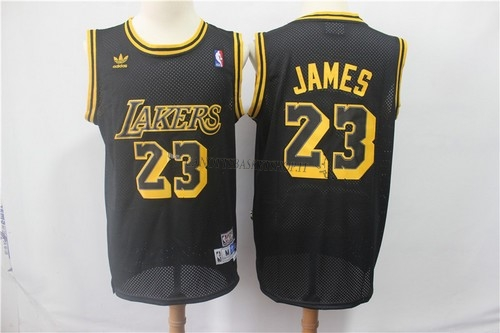 Comprare Maglia NBA Los Angeles Lakers NO.23 Lebron James Retro Nero
