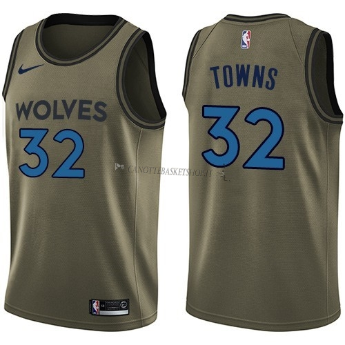 Comprare Maglia NBA Minnesota Timberwolves Servizio Di Saluto NO.32 Karl Anthony Towns Nike Army Green 2018