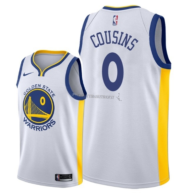 Comprare Maglia NBA Nike Golden State Warriors NO.0 DeMarcus Cousins Bianco Association 2018