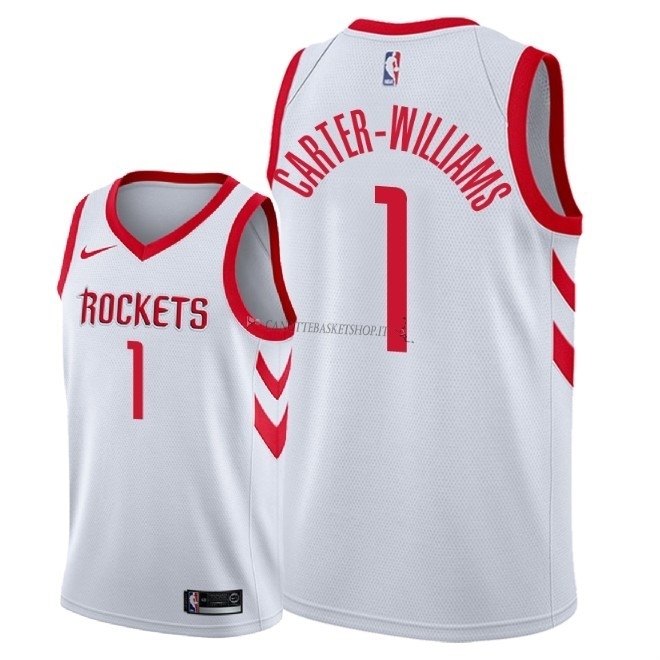 Comprare Maglia NBA Nike Houston Rockets NO.1 Michael Carter Williams Bianco Association 2018