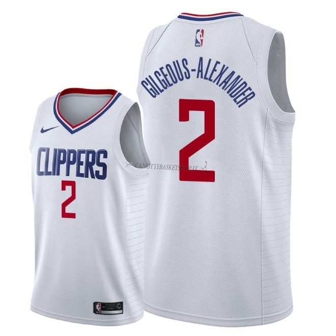Comprare Maglia NBA Nike Los Angeles Clippers NO.2 Shai Gilgeous Alexander Bianco Association 2018