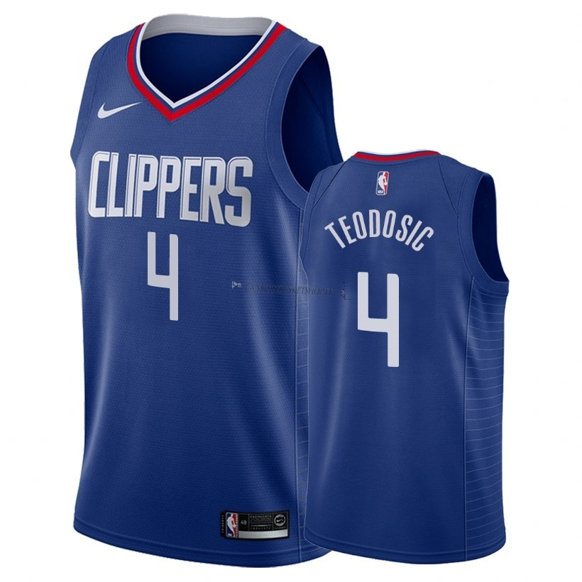 Comprare Maglia NBA Nike Los Angeles Clippers NO.4 Milos Teodisic Blu Icon 2018