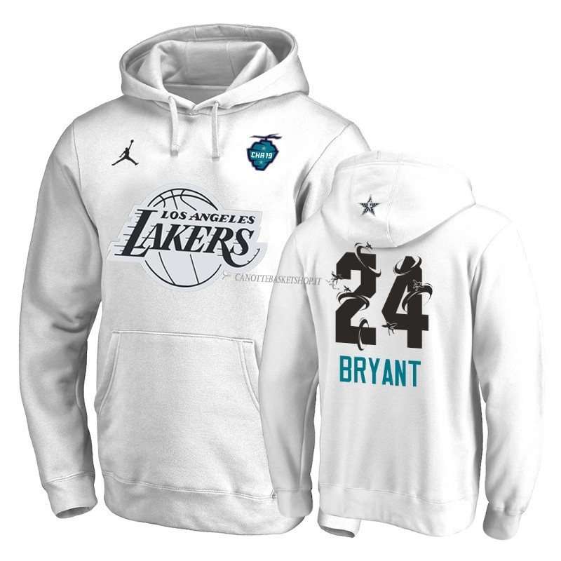Comprare Felpe Con Cappuccio NBA 2019 All Star Los Angeles Lakers NO.24 Kobe Bryant Bianco