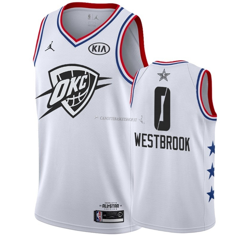 Comprare Maglia NBA 2019 All Star NO.0 Russell Westbrook Bianco