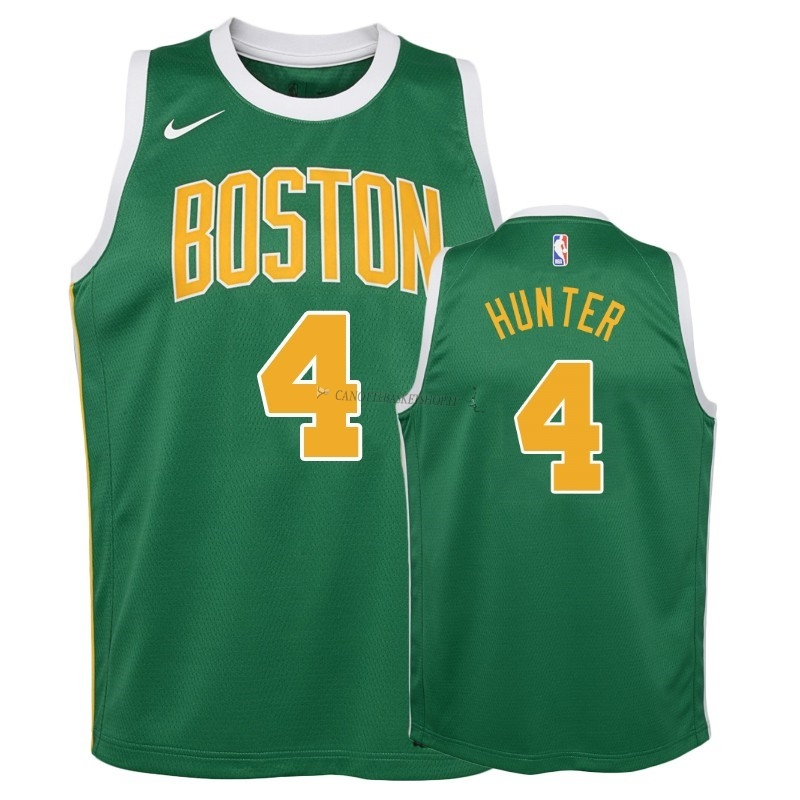 Comprare Maglia NBA Bambino Earned Edition Boston Celtics NO.4 R.J. Hunter Verde 2018-19