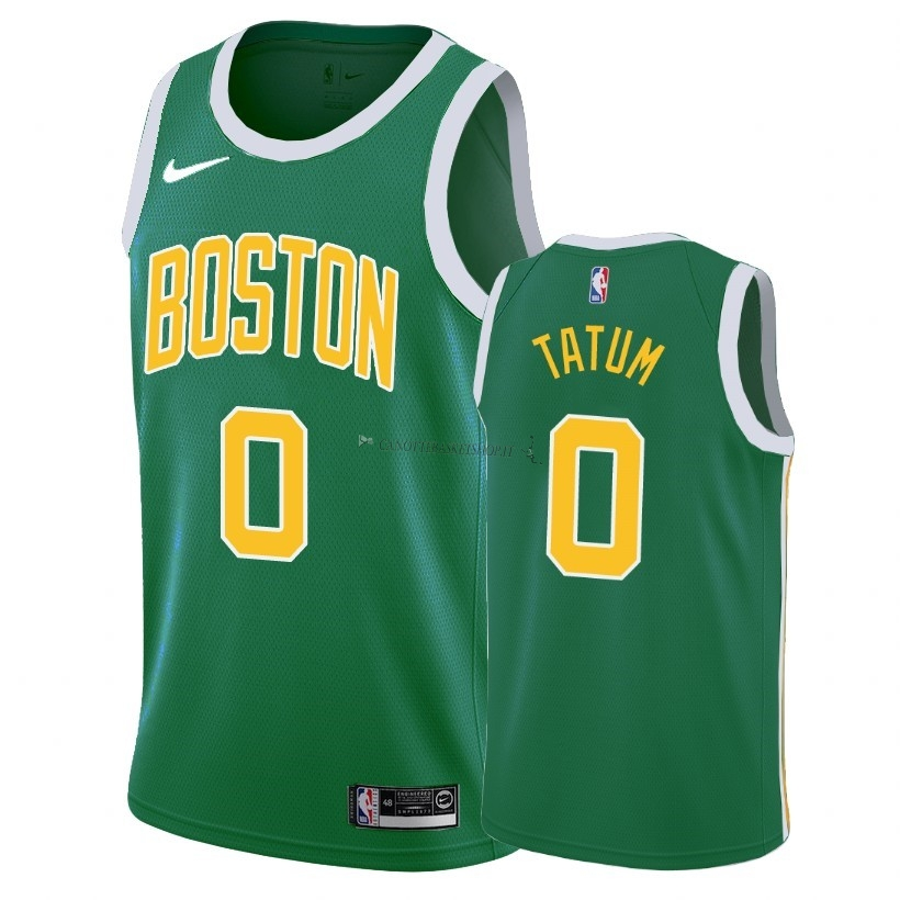 Comprare Maglia NBA Earned Edition Boston Celtics NO.0 Jayson Tatum Verde 2018-19