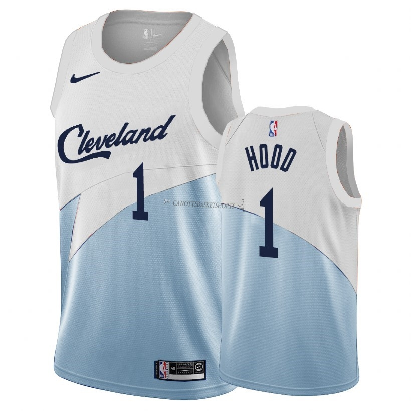 Comprare Maglia NBA Earned Edition Cleveland Cavaliers NO.1 Rodney Hood Blu 2018-19