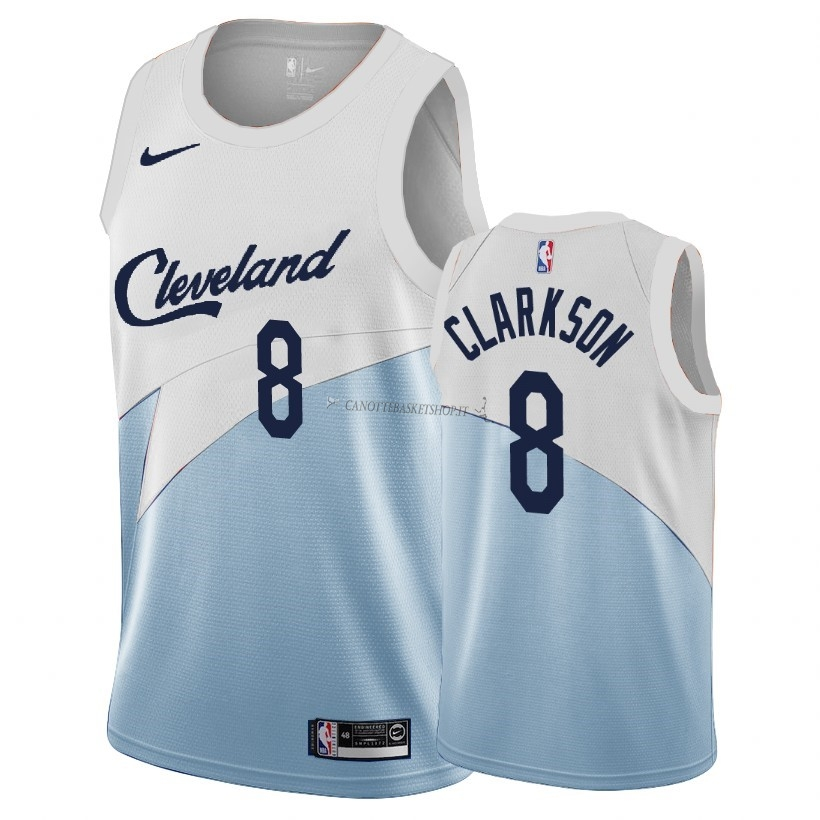 Comprare Maglia NBA Earned Edition Cleveland Cavaliers NO.8 Jordan Clarkson Blu 2018-19