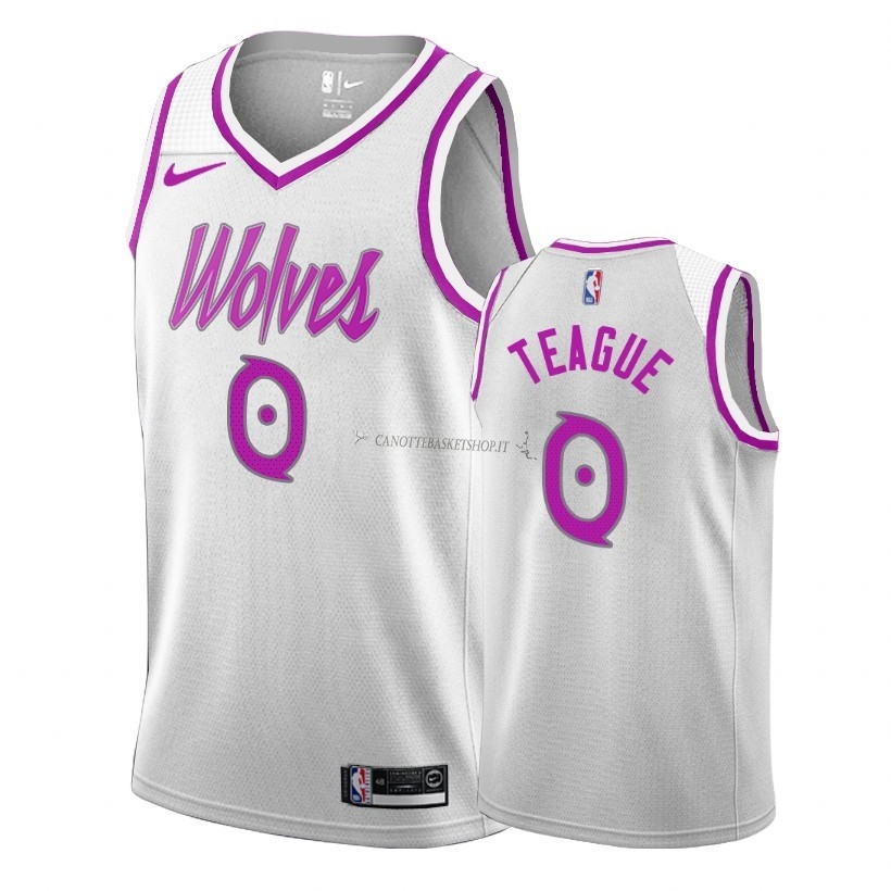 Comprare Maglia NBA Earned Edition Minnesota Timberwolves NO.0 Jeff Teague Bianco 2018-19