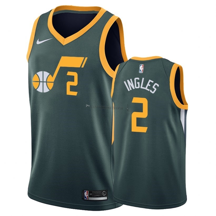 Comprare Maglia NBA Earned Edition Utah Jazz NO.2 Joe ngles Verde 2018-19