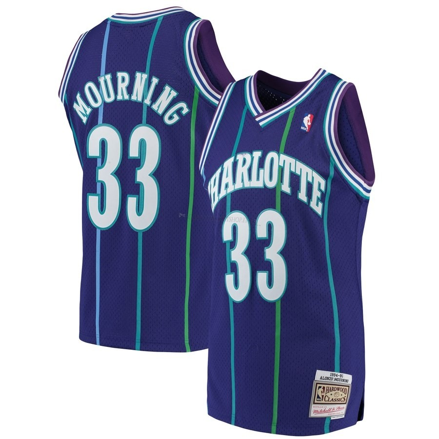 Comprare Maglia NBA Charlotte Hornets NO.33 Alonzo Mourning Blu Hardwood Classics 1992-93