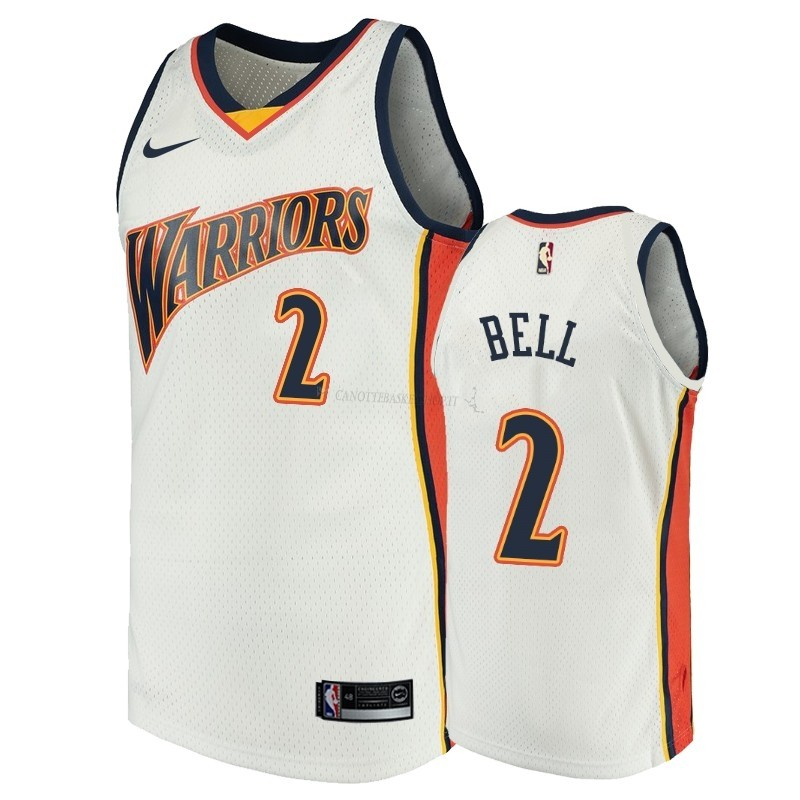 Comprare Maglia NBA Golden State Warriors NO.2 Jordan Bell Bianco Throwback