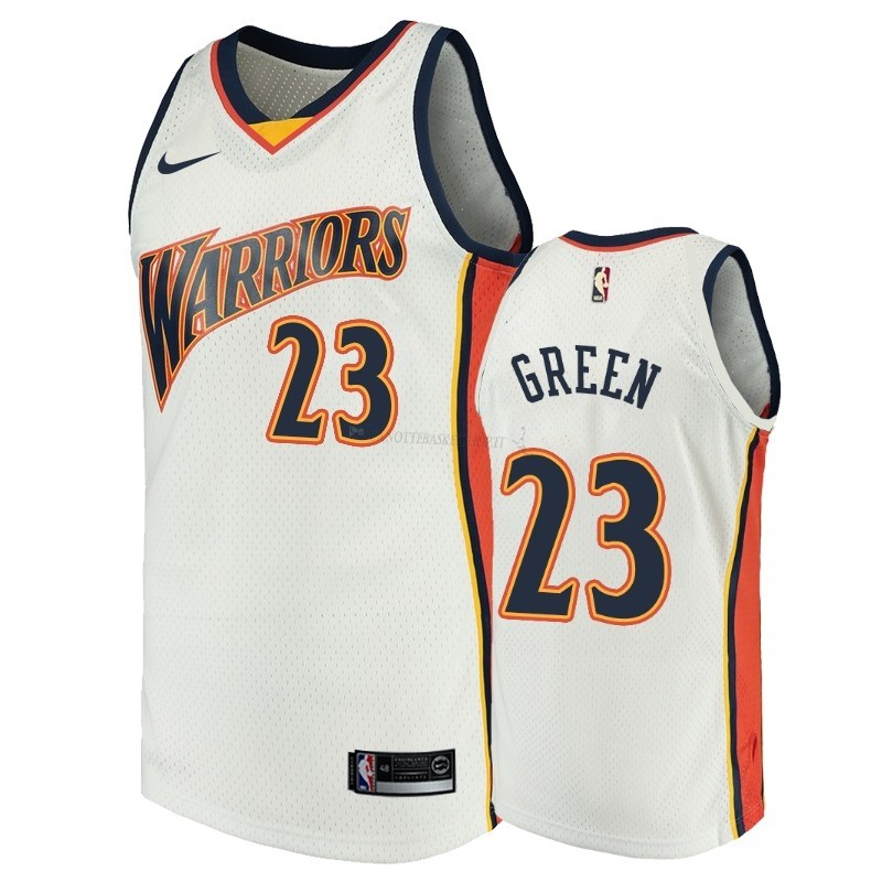 Comprare Maglia NBA Golden State Warriors NO.23 Draymond Green Bianco Throwback