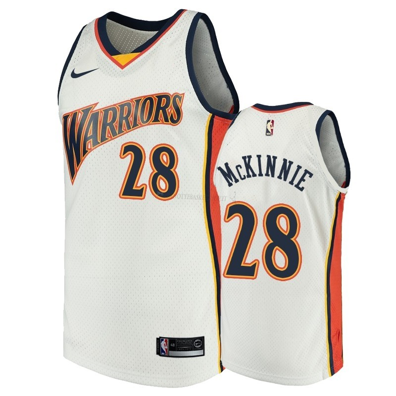 Comprare Maglia NBA Golden State Warriors NO.28 Alfonzo McKinnie Bianco Throwback
