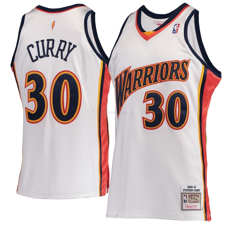 Comprare Maglia NBA Golden State Warriors NO.30 Stephen Curry Bianco Hardwood Classics 2009-10