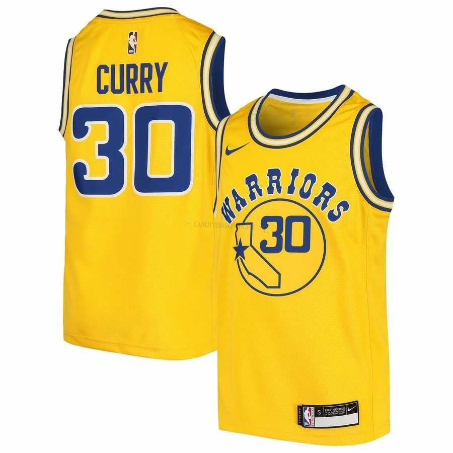 Comprare Maglia NBA Golden State Warriors NO.30 Stephen Curry Giallo Hardwood Classics 2009-10