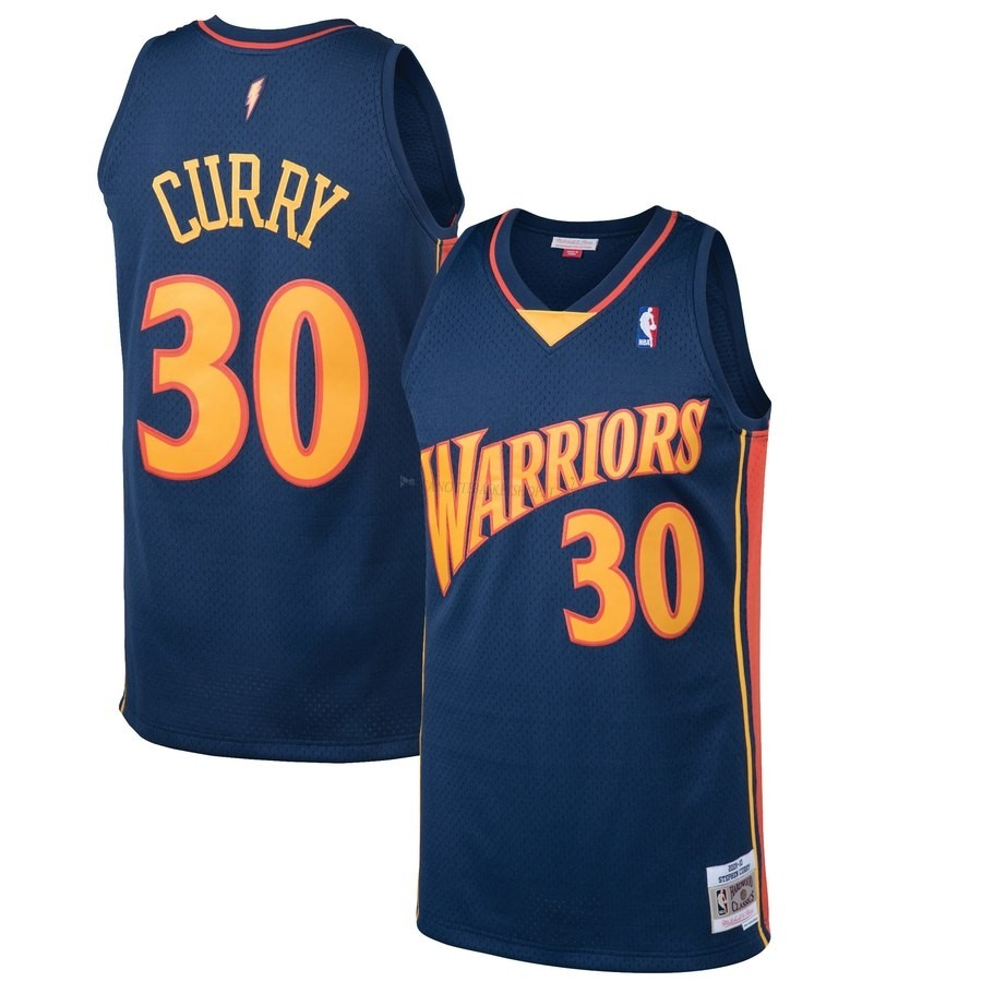 Comprare Maglia NBA Golden State Warriors NO.30 Stephen Curry Nero Hardwood Classics 2009-10
