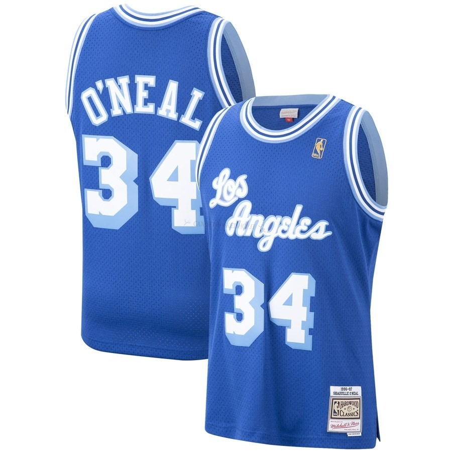 Comprare Maglia NBA Los Angeles Lakers NO.34 Shaquille O'Neal Blu Hardwood Classics 1996-97