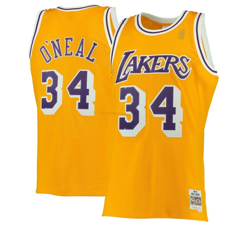 Comprare Maglia NBA Los Angeles Lakers NO.34 Shaquille O'Neal Giallo Hardwood Classics 1996-97