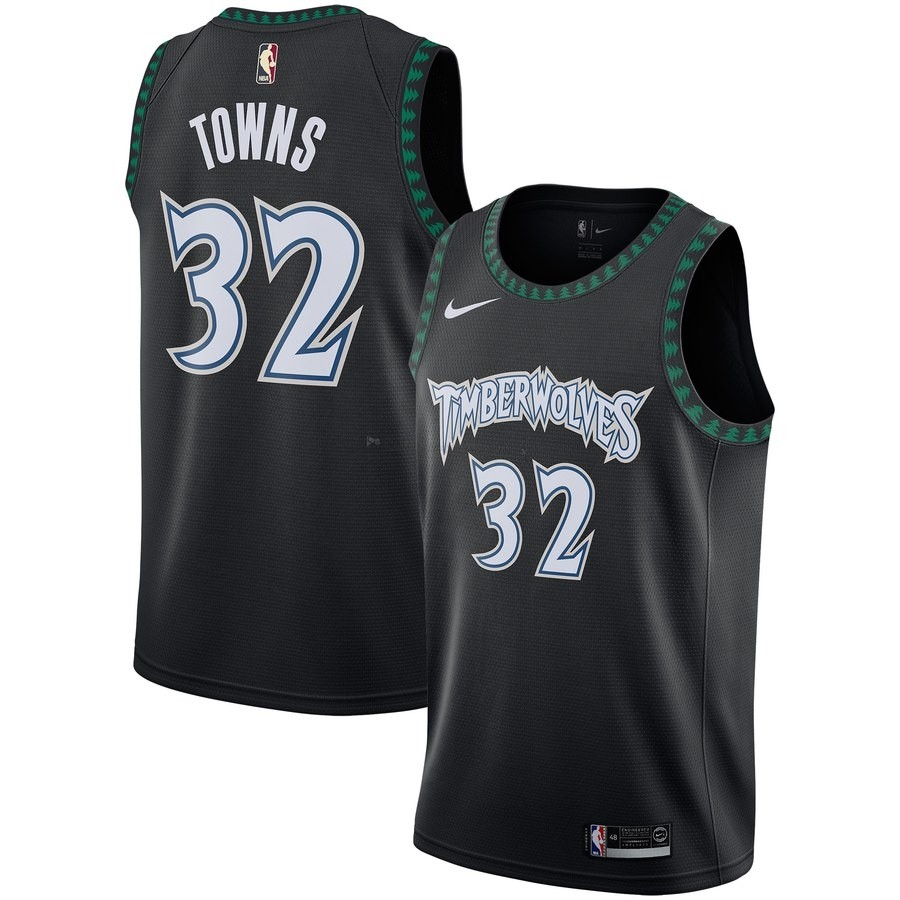 Comprare Maglia NBA Minnesota Timberwolves NO.32 Karl Anthony Towns Nero Hardwood Classics