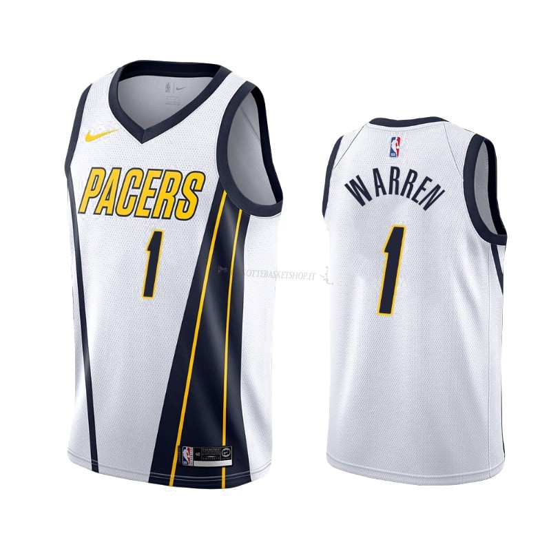 Comprare Maglia NBA Earned Edition Indiana Pacers NO.26 T.J. Warren Gray Bianco 2019-20