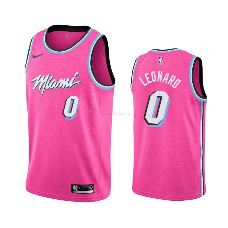 Comprare Maglia NBA Earned Edition Miami Heat NO.0 Meyers Leonard Nike Rosa 2019-20