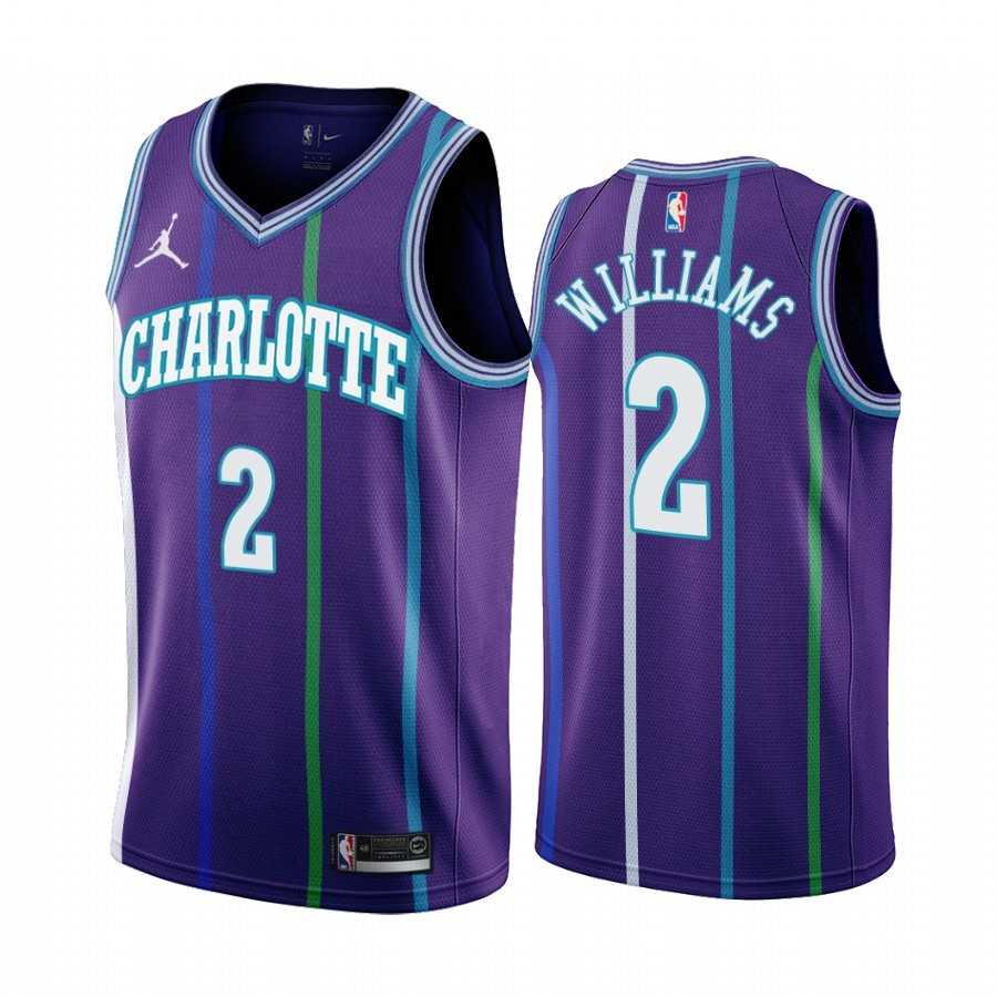 Comprare Maglia NBA Charlotte Hornets NO.2 Marvin Williams Pourpre Hardwood Classics 2019-20
