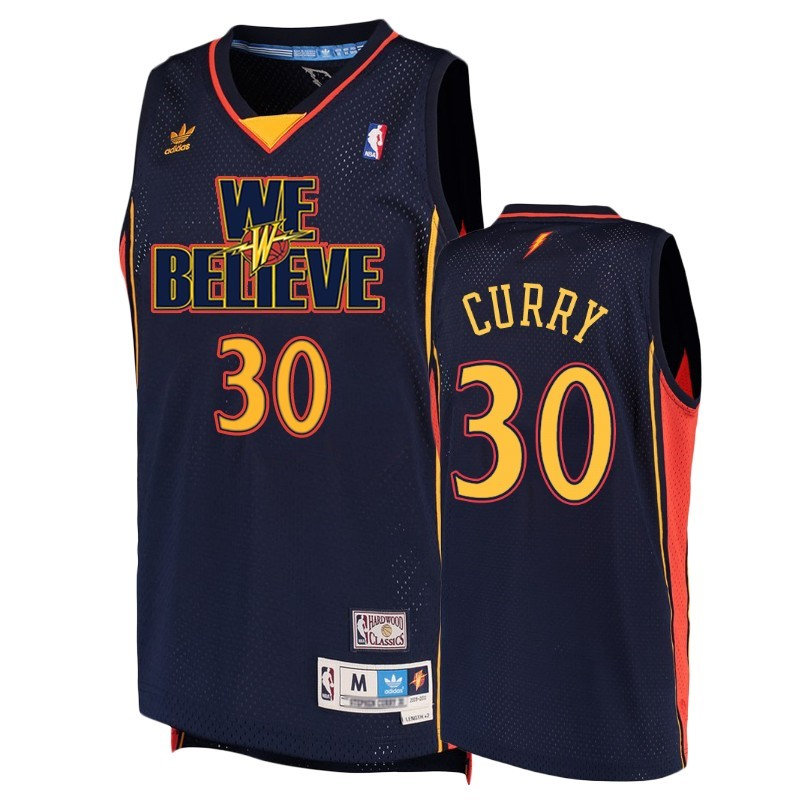 Comprare Maglia NBA Golden State Warriors NO.30 Stephen Curry Marino Hardwood Classics