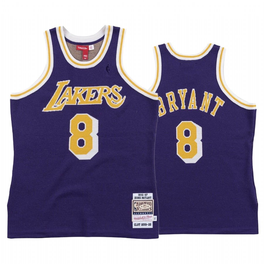 Comprare Maglia NBA Los Angeles Lakers NO.8 Kobe Bryant Pourpre Hardwood Classics 1996-97