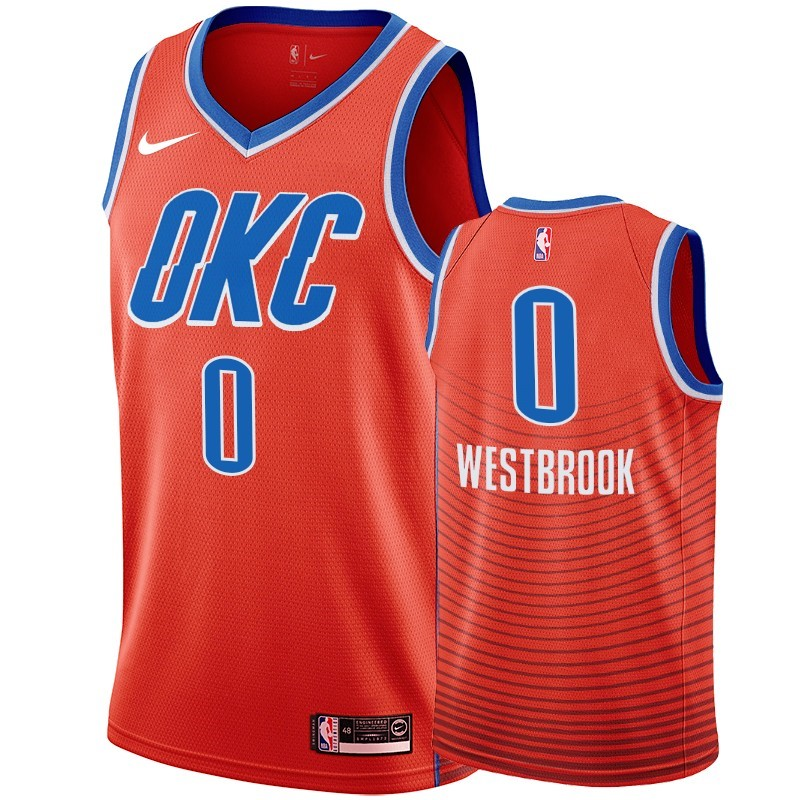 Comprare Maglia NBA Nike Oklahoma City Thunder NO.0 Russell Westbrook Orange 2019-20