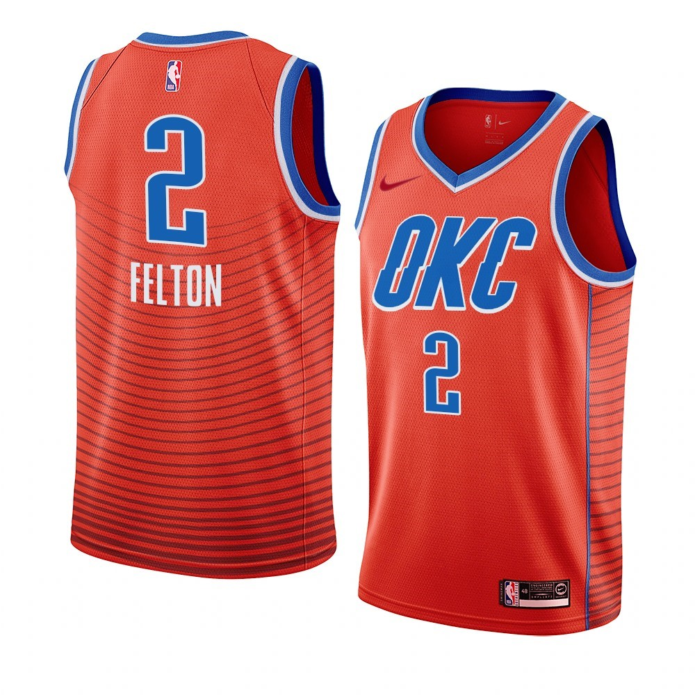 Comprare Maglia NBA Nike Oklahoma City Thunder NO.2 Raymond Felton Orange Statement 2019-20