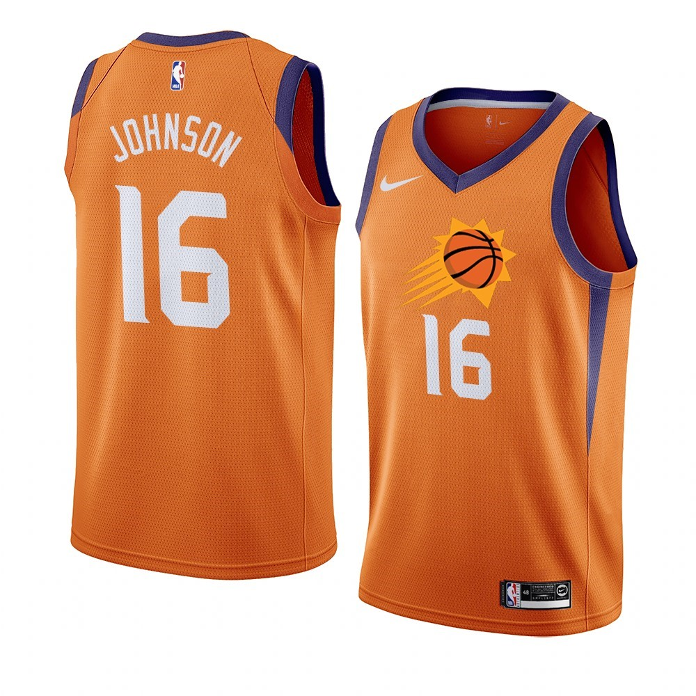 Comprare Maglia NBA Nike Phoenix Suns NO.16 Tyler Johnson Orange Statement 2019-20