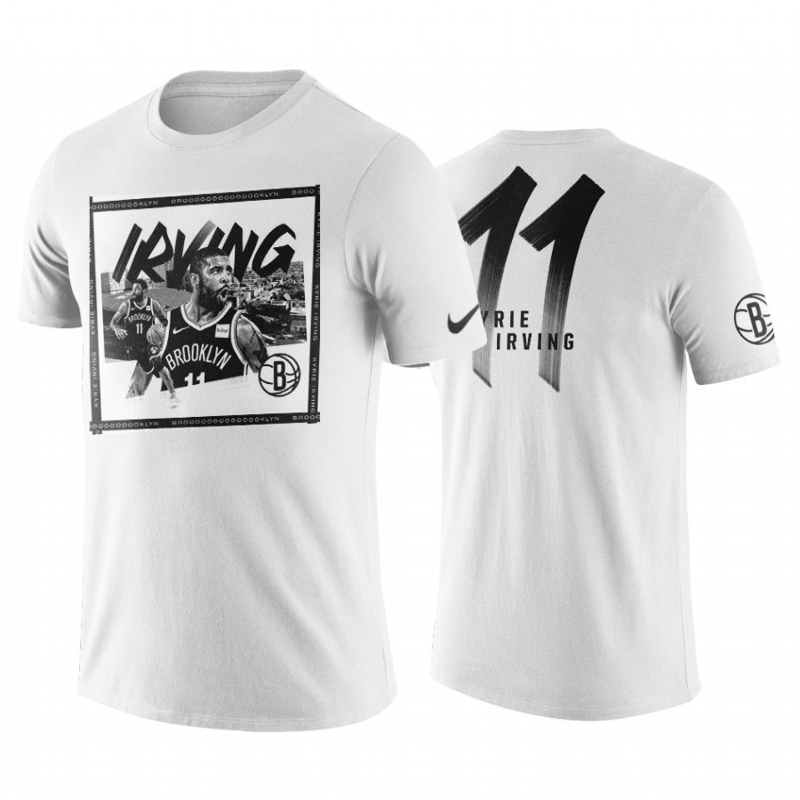 Comprare T-Shirt Brooklyn Nets Kyrie Irving Bianco