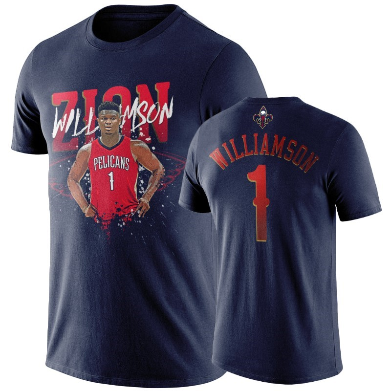 Comprare T-Shirt New Orleans Pelicans Zion Williamson Marino Player Graphic
