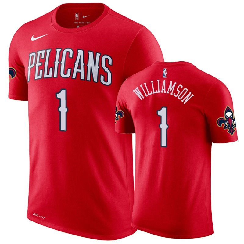 Comprare T-Shirt New Orleans Pelicans Zion Williamson Rosso Statement