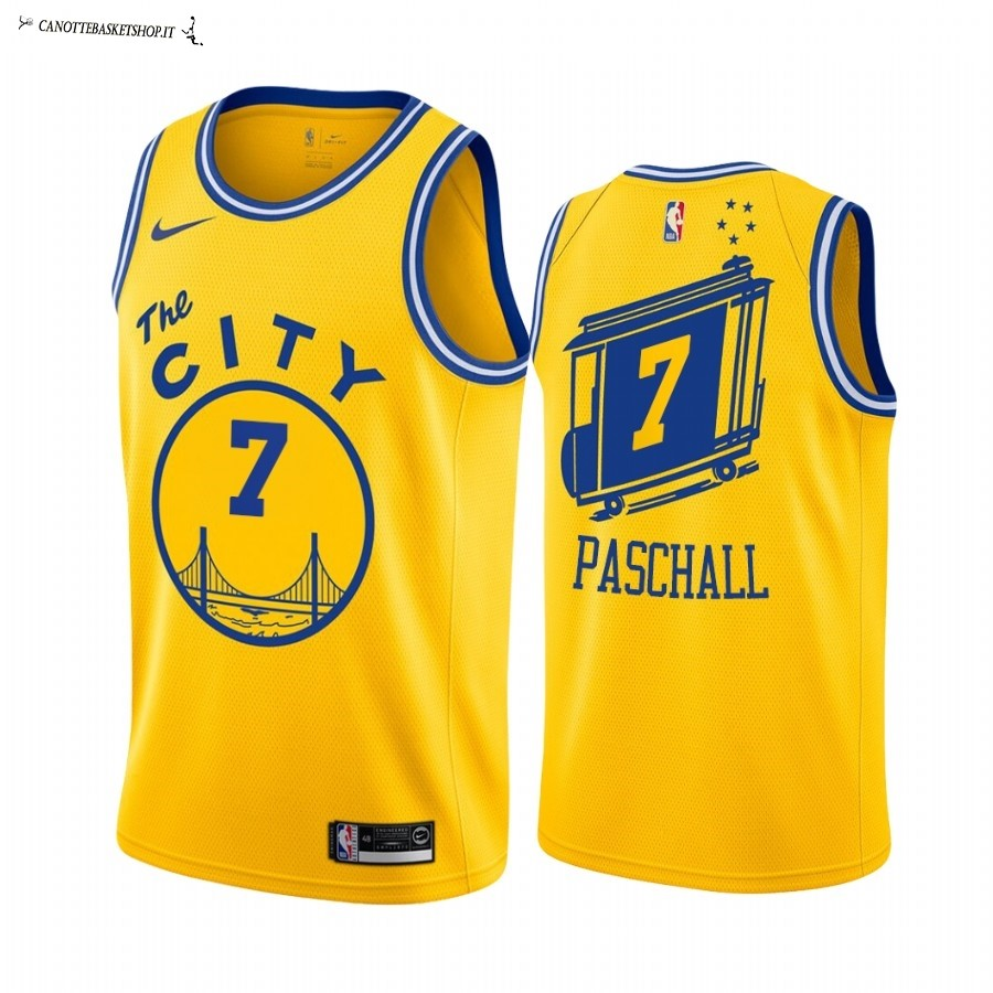 Comprare Maglia NBA Golden State Warriors NO.7 Eric Paschall Oro Hardwood Classics